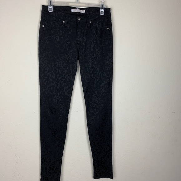 Frankie B. Pants - Frankie B.- Black Patterned straight leg Pants s26